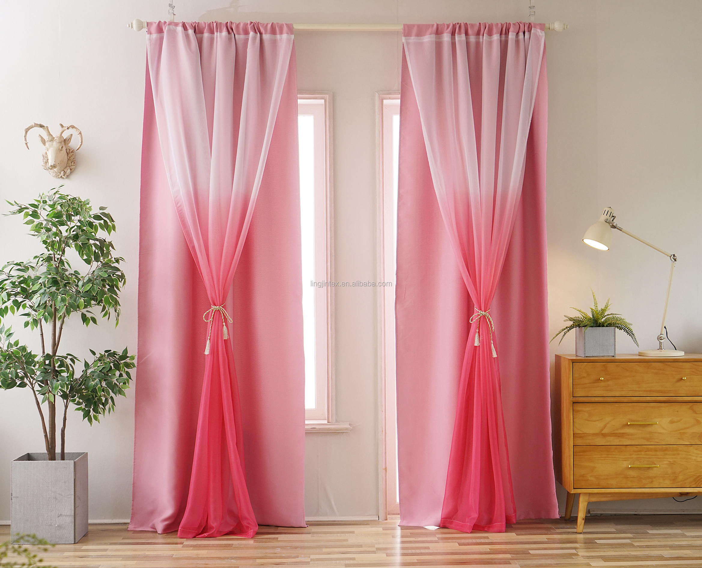 Wholesale two layers blackout sheer for living room ombre design ready made curtain