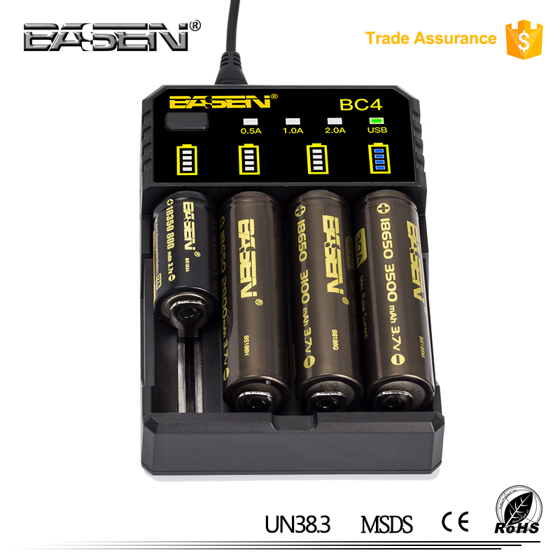 2017 New hot selling good quality wholesale top rated automotive battery charger BC4 4 bay plug in li-ion battery charger 3.7v