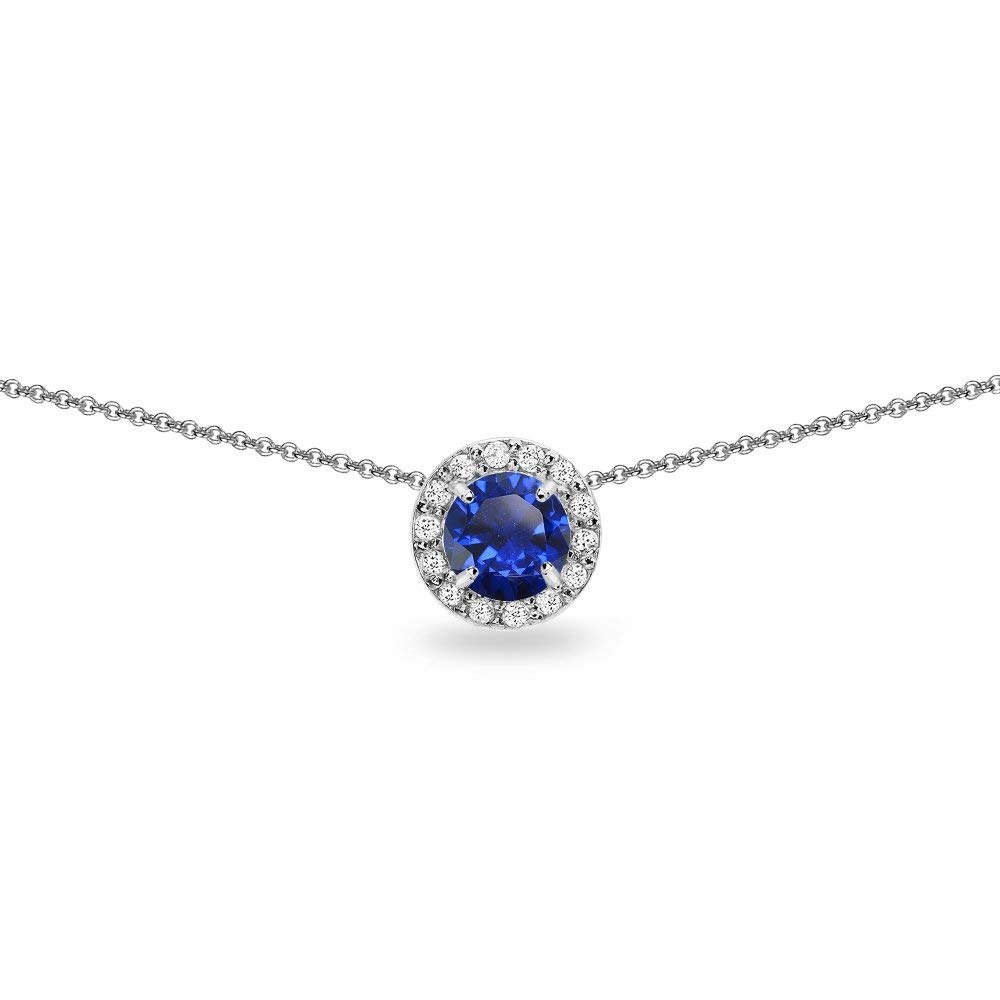 Sterling Silver Genuine, Created or Simulated Gemstone and White Topaz Round Halo Slide Short Choker Necklace for Girls, Teens or Women
