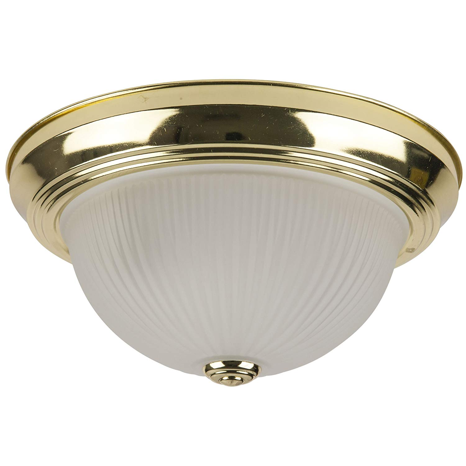 Sunlite DBS11/FR 11-Inch Dome Ceiling Fixture, Polished Brass Finish with Frosted Glass