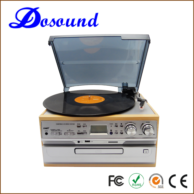 USB Turntable 3 Speed wooden gramophone turntable Record Player Vinyl to MP3 Converter with Speakers New