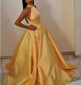 Spring 2019 Halter A Line Keyhole Back Long Yellow Prom Night Dress on Sales