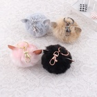 Hairy Rabbit Ear pom ball key ring with All the Colors Mobile Phone Keychains