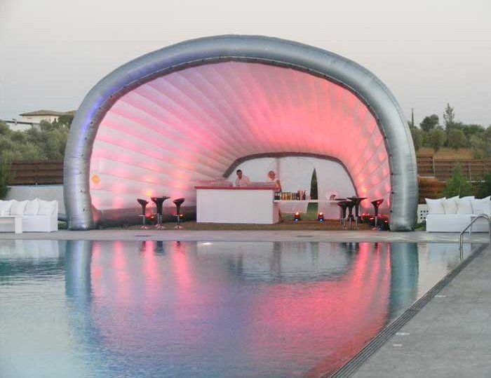 Silver pink color Inflatable Shell Show Tent For Festival