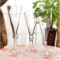 Trumpet tall stem wedding decoration table centerpieces murano glass vases for flower arrangement
