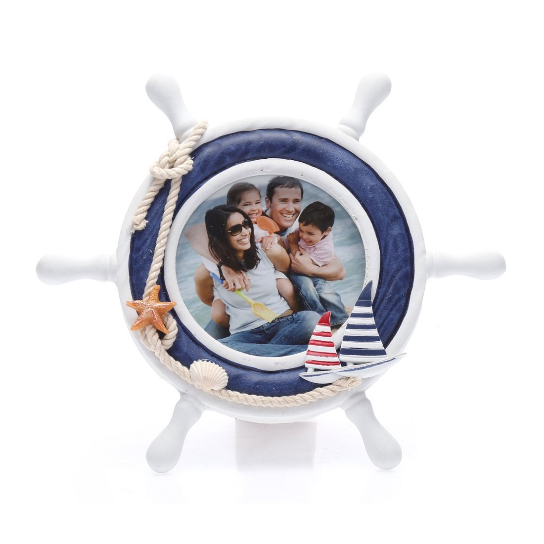 4x4 Inches Nautical Steering Wheel Round Picture Frame with Glass Front