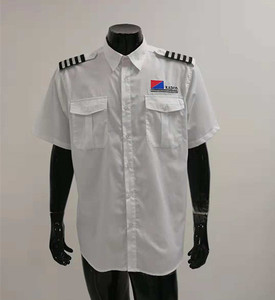 Unisex 100% cotton short or long sleeve airline pilot shirt custom made pilot uniform shirt for airport work wear