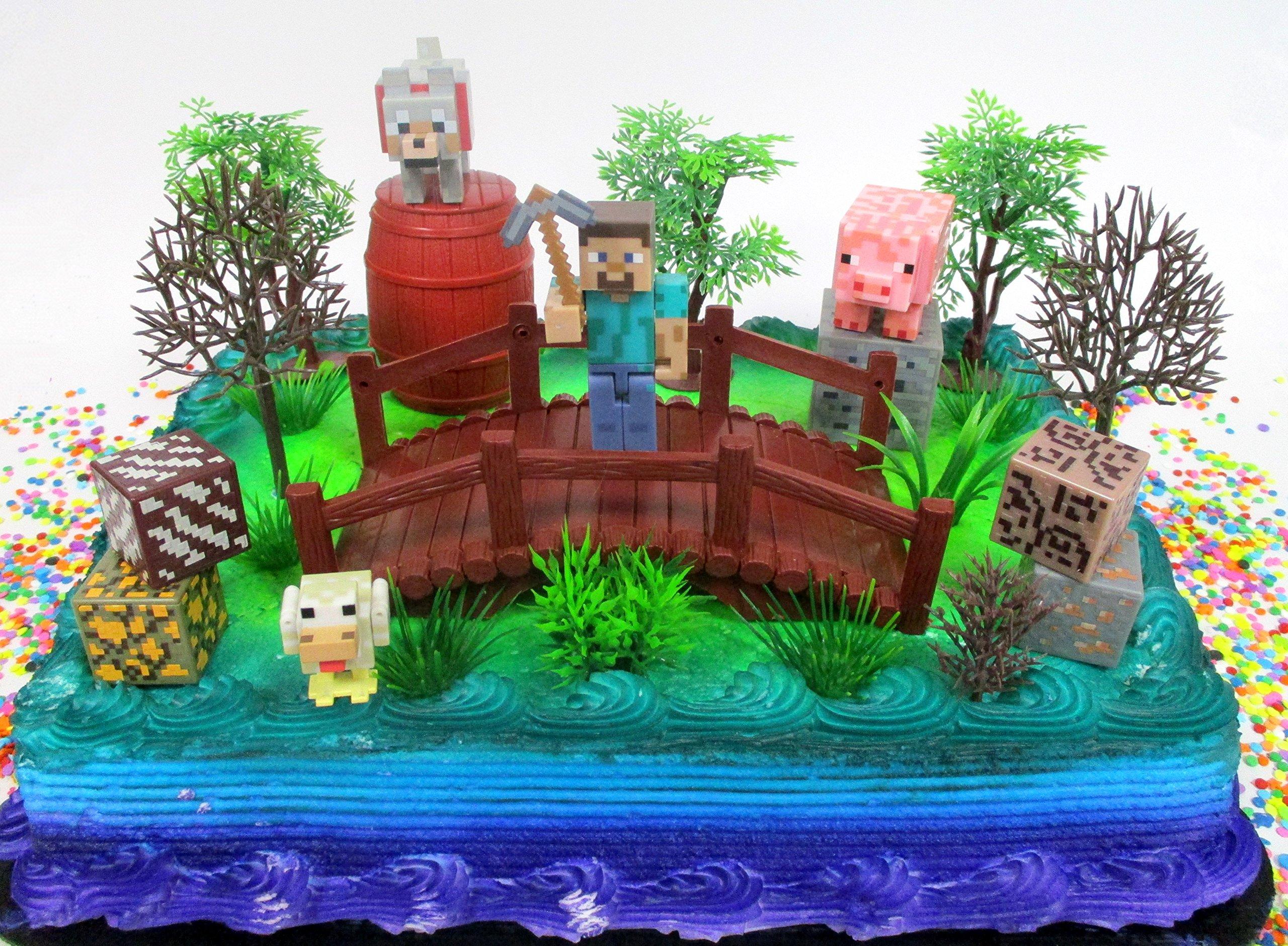 Fabulous Buy Minecraft 14 Piece Birthday Cake Topper Set Featuring Random Funny Birthday Cards Online Elaedamsfinfo