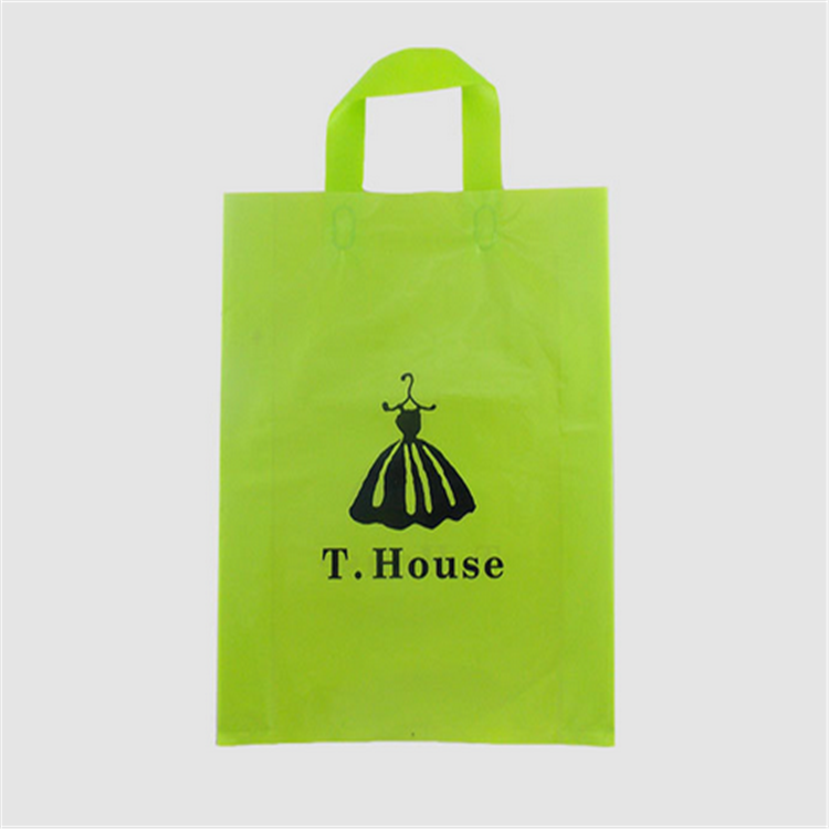 biodegradable soft loop handle thin plastic bag with logo printed