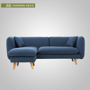 Macaroon popular modern fabric sofa with footrest