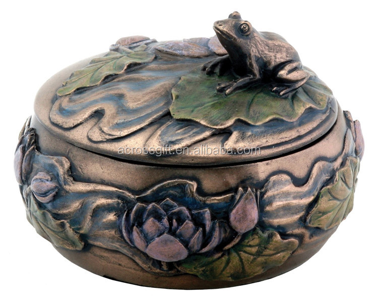 Pesonalized Handmade Painted Decorative Resin Frog Jewelry Box