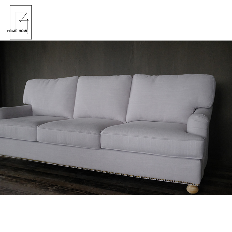 Optional Colour Living Room Stretch Heavy Upholstery Fabric with Linen Fabric 3 Seats Sofa