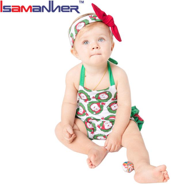 Buon natale 2017 nuovo disegno del pagliaccetto delle neonate toddler natale outfit