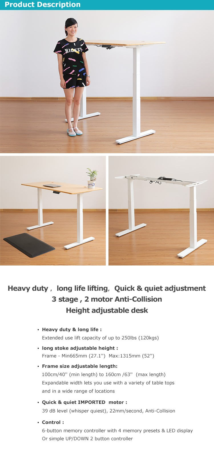 3 Stage 2 Motor Electric Sit Stand Height Adjustable Desk