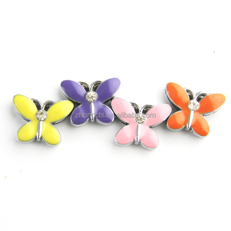 Factory directly colorful butterfly DIY slide charm for wrist bracelet&pet collar