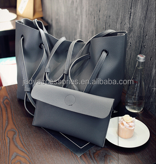2018 New arrival ladies pu tote big <strong>handbag</strong> shopping casual 2 pieces set <strong>handbag</strong>