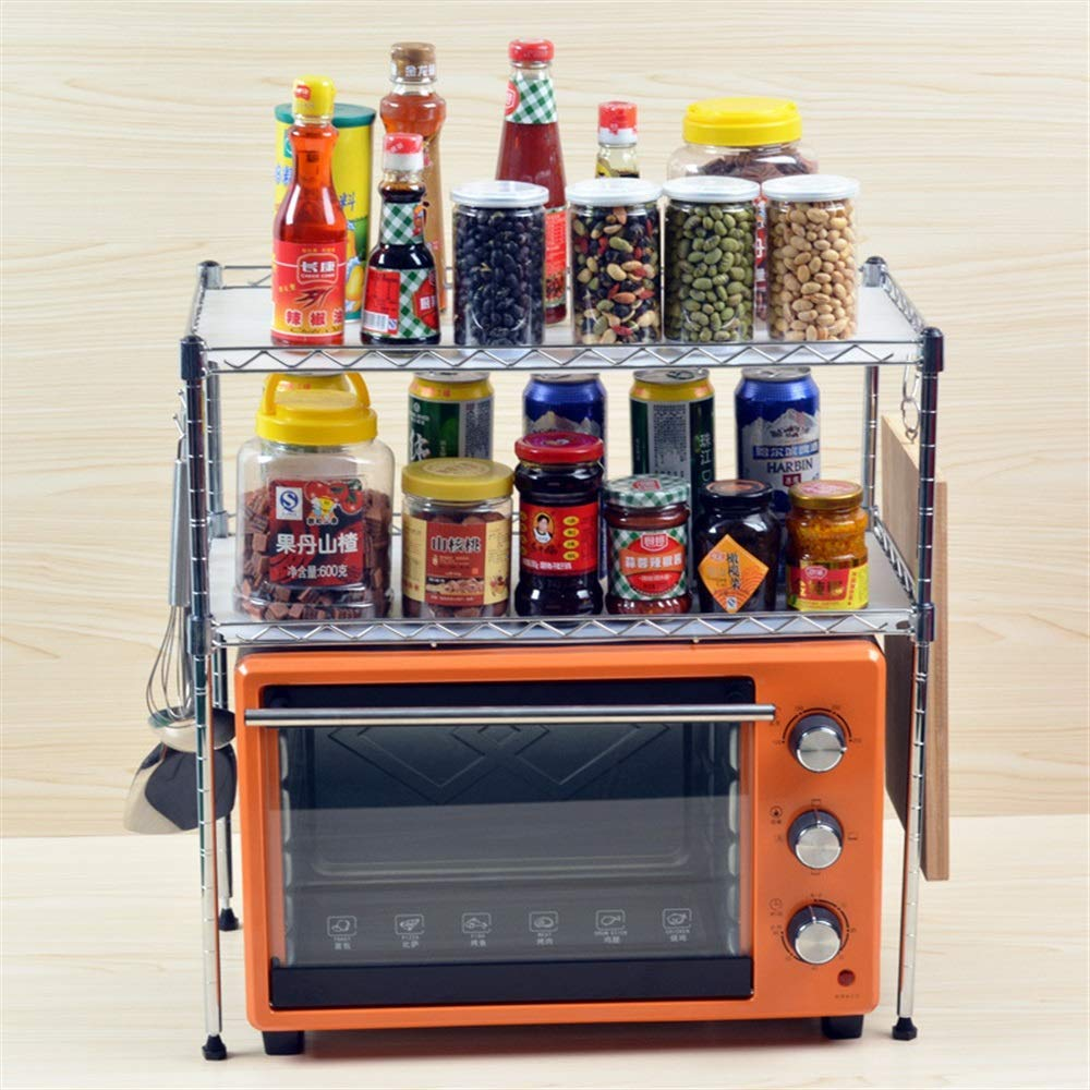 Pinjewelry Convenient and Practical Kitchen Shelf Microwave Oven Rack Kitchen Utensils Two-Layer Seasoning Storage Rack (Size : B)