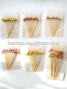 natural bamboo art skewer /stick with flower
