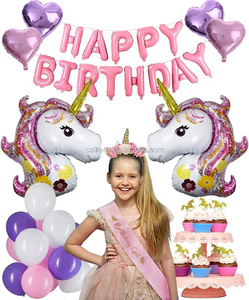 HOT Selling party supplies unicorn With Birthday Girls Favors Headband Sash Cup Cake Toppers for kids birthday party sets