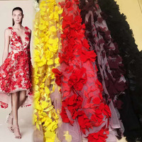 Big Flower 3d lace fabrics material with many color