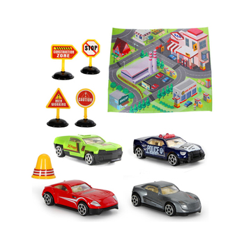 Indoor soft carpet game alloy 1:64 car set traffic design kids play mat HC447783
