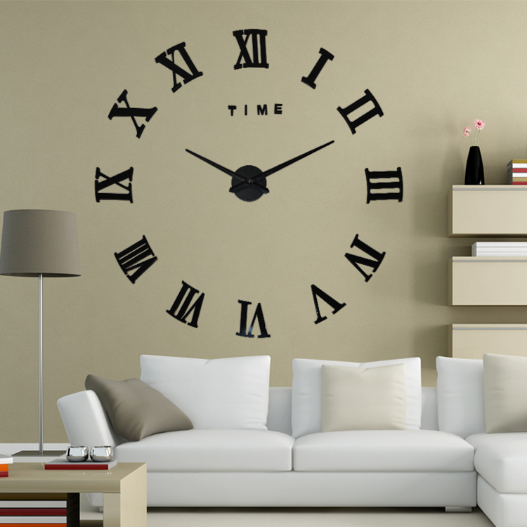 2015 New fashion 3D big size wall clock mirror sticker DIY wall clocks home decoration wall