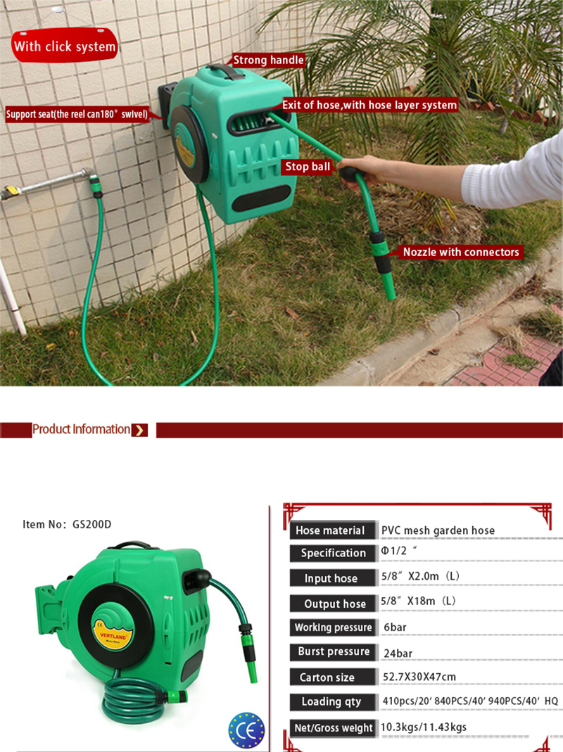 vertland garden hideaway water hose reel lawn yard box holder 60
