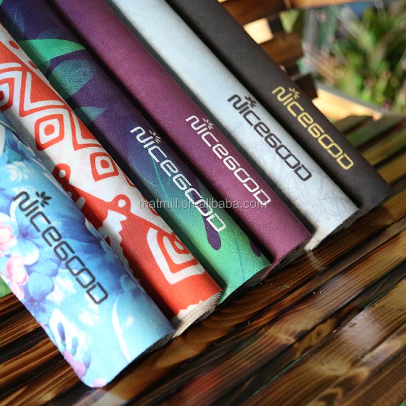 Ter absorbe tam renkli süblimasyon baskı doğal ağacı kauçuk organik custom made yoga paspaslar