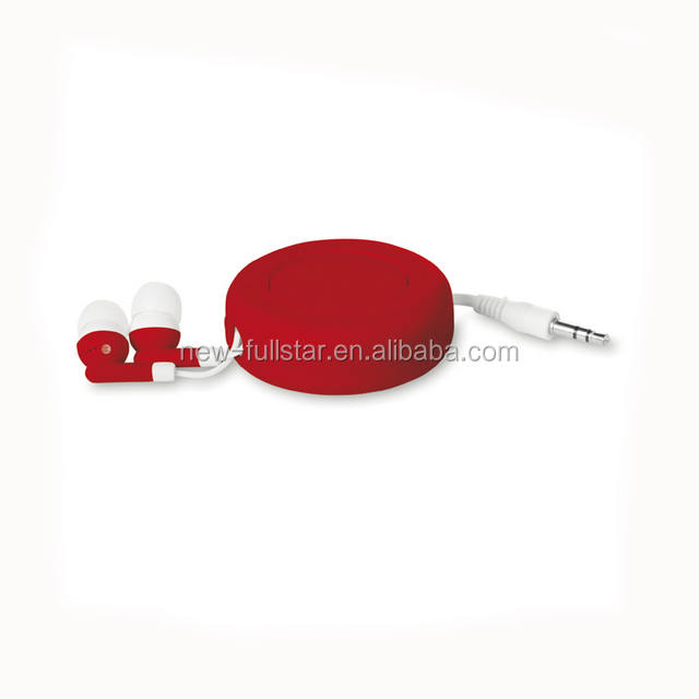 Promotion Earbuds Retractable Earphone With Round Button Control - Buy  Retractable Earphone,Promotion Earphone,Promotion Earbuds Product on