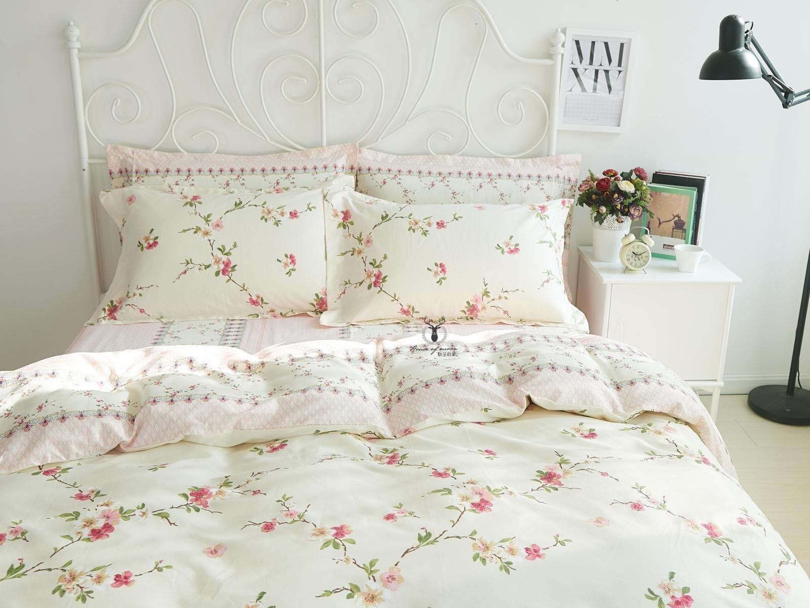 FADFAY Girls Shabby Duvet Cover Sets Floral Cotton Bedding Set Queen 4PCS(1flat Sheet+1duvet Cover+2pillowcases)