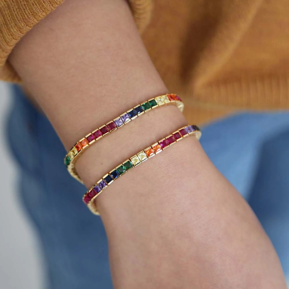 New gold plated multi color zircon square <strong>cz</strong> <strong>tennis</strong> chain rainbow <strong>tennis</strong> <strong>bracelet</strong> women