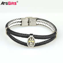 Custom men stainless steel germanium silver bangle leather friendship bracelet