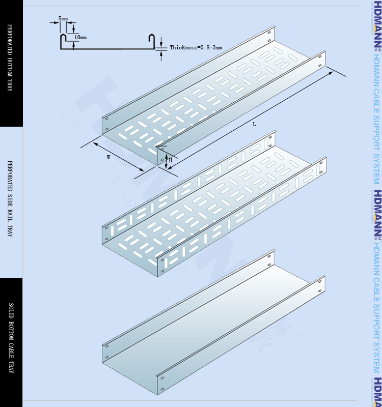 Customized Perforated Through Cable Tray For Cable Support