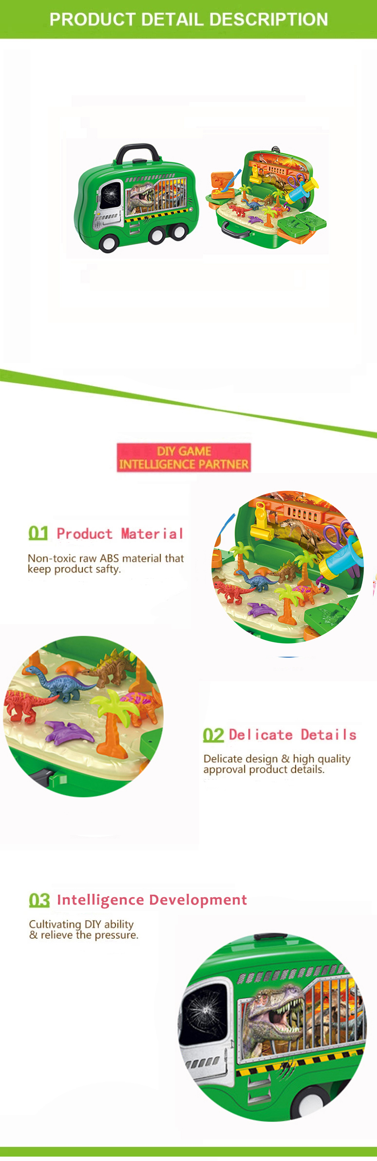 Wholesale intelligent colorful dinosaur Suitcase Non-toxic clay modeling toys for kids