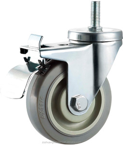 Medium duty caster wheel thread stem with brake TPR plastic 100 mm 4 inch ball beairng trolley wheels