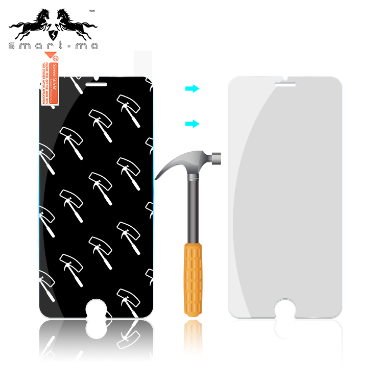 Fashion hammer anti-shock TPU+PET protector nano screen protector for iphone 6/7/7plus