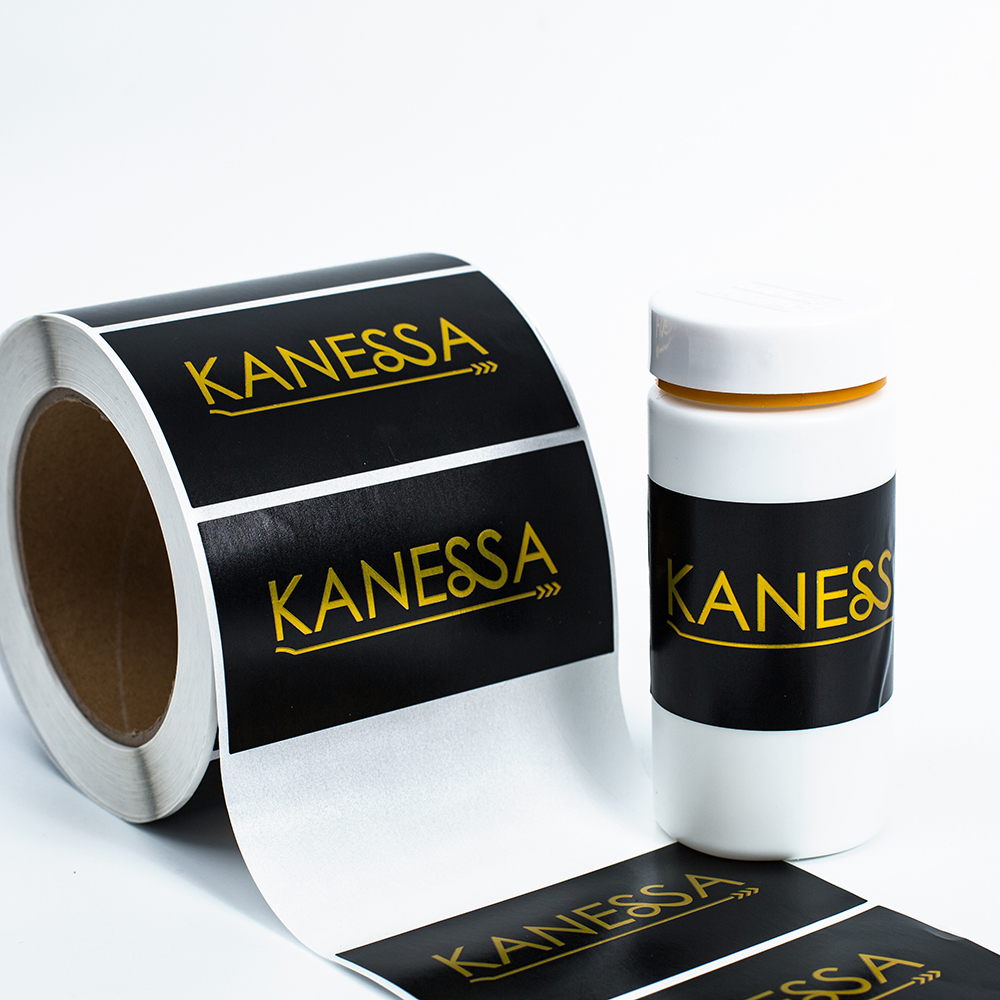 custom 2x4 inches rolls adhesive label logo printing black and gold foil sticker for sunglasses box