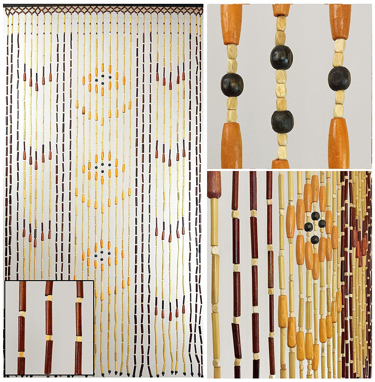 "BeadedString Natural Wood & Bamboo Beaded Curtain-31 Strands-70"" High-Door Beads-Retro Boho Bohemian Hippie Doorway Curtain-35.5"" W x 70"" H-Jane"