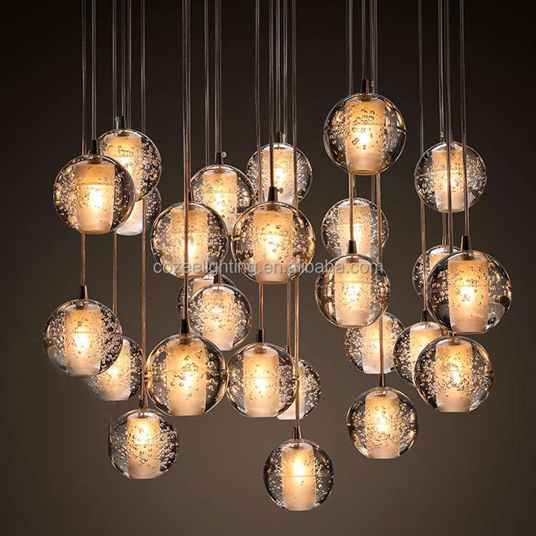 Vintage Crystal Glass Ball Chandelier Lighting LED Pendant Light Hanging Lamp for Restaurant Home Decor CZ2592/26S