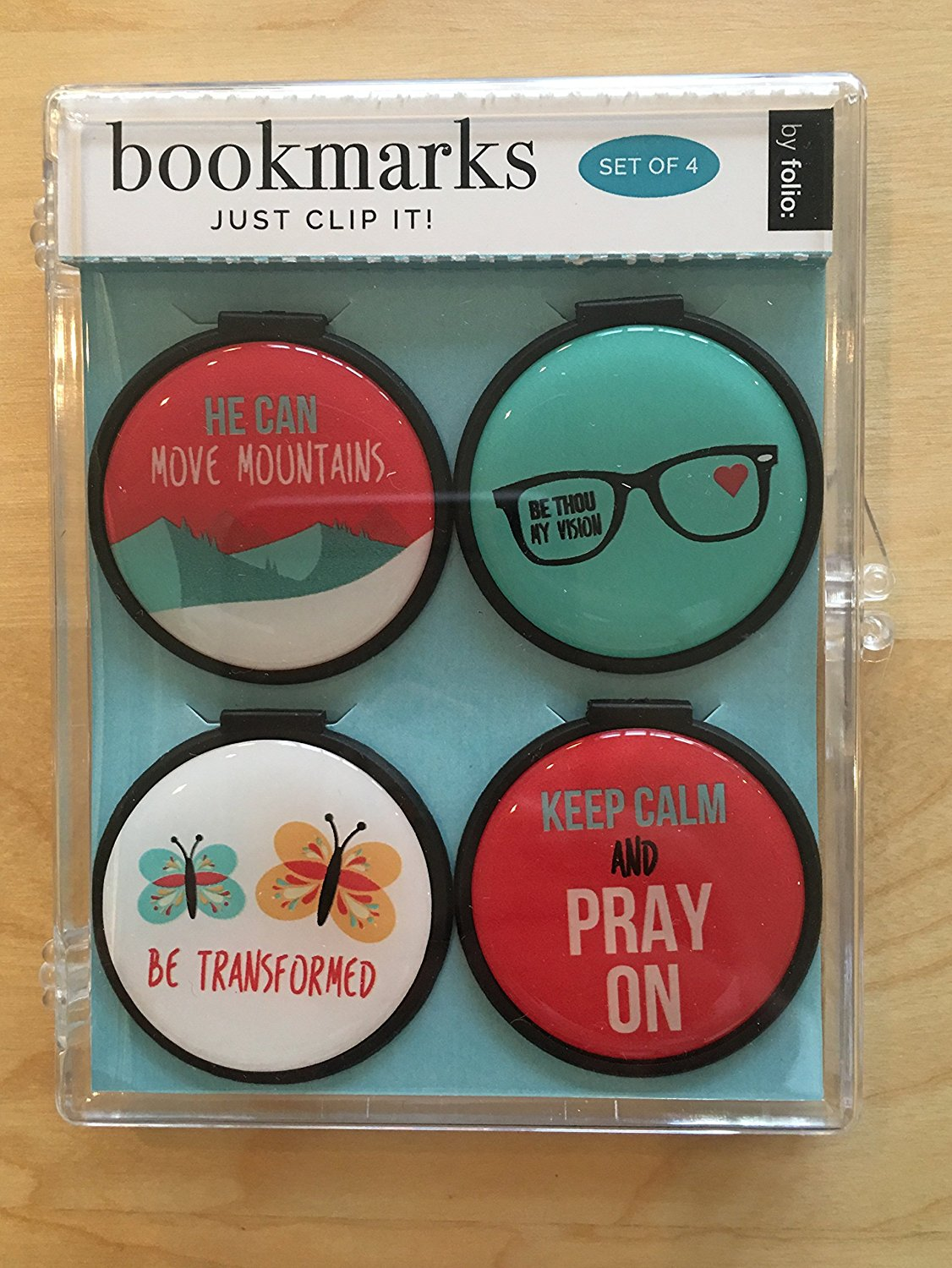 Just Clip it! Quote Bookmarks - (Set of 4 clip over the page markers) - HE CAN, Move MOUNTAINS, BE Transformed, KEEP CALM & Pray ON, BE THOU my ViSion