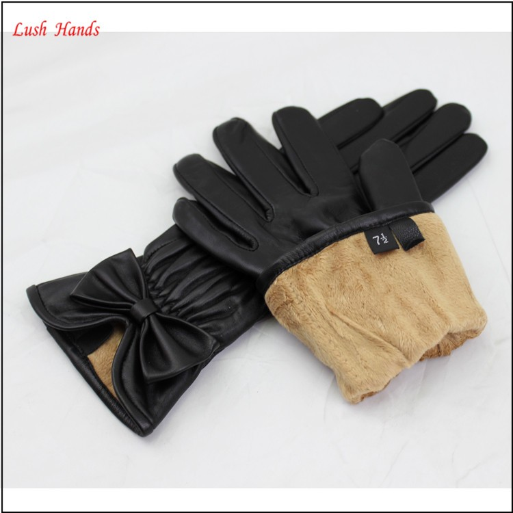 ladies cheap winter black kidskin leather hand gloves with bowknot