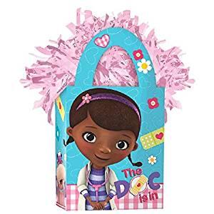 Amscan Girls Disney Doc McStuffins Mini Tote Party Balloon Weight, 5.7 oz, Light Pink