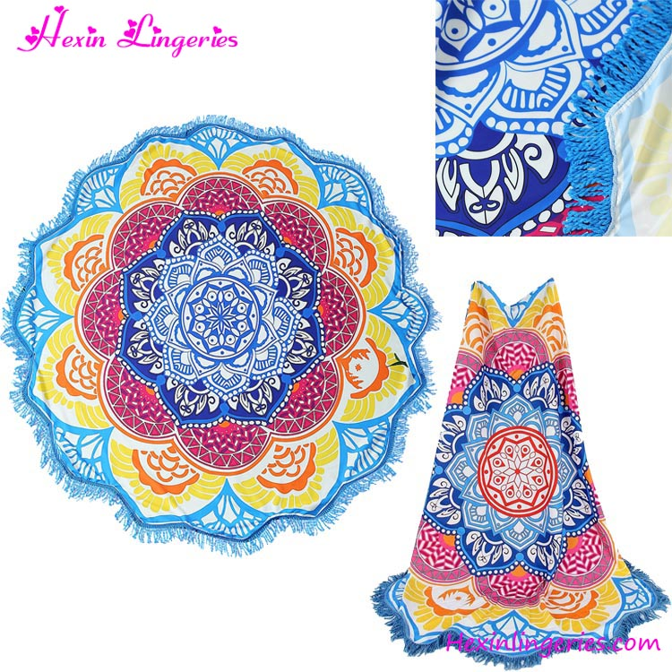 Blue Tassels Lotus Printed India Custom Made Beach Towels ...