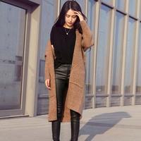 AD05 Cardigan Women casual Crochet Knitted Blouse Long-sleeve Tops Women long Sweaters Cardigans