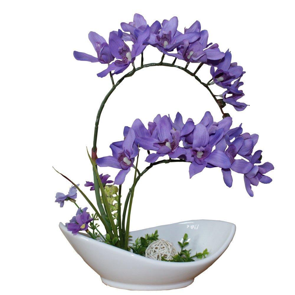 """Huazhiwu 12"""" Thailand Phalaenopsis Orchid Arrangements Real Touch Silk Artificial Flowers Ceramic Bonsai Pots, Purple"""