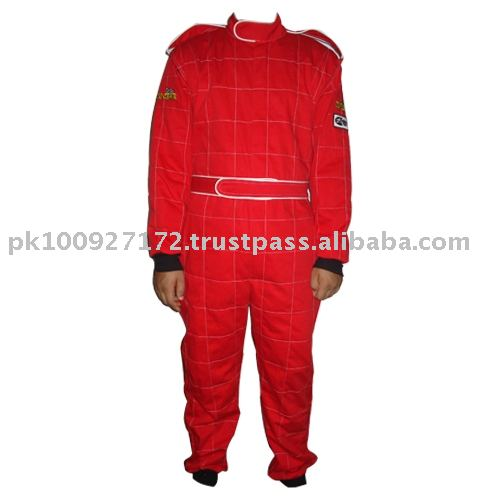 Single Layer Fr Cotton SFI Race suit full red with white pipping