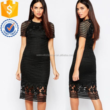 Newest design short sleeve premium lace pencil dress with sheer lace overlay