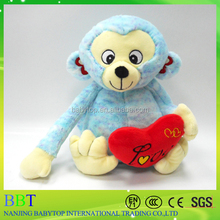 wholesale plush 25cm blue monkey stuffed toys for Valentine's Day gift