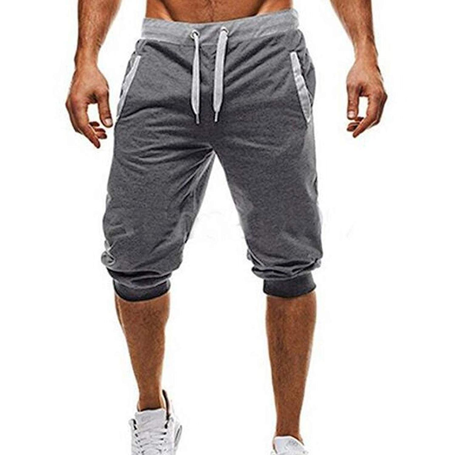 Men Pants Casual Slim Fit,Morecome Men's Fashion Simple Cropped Drawstring Pants Workout Jogging