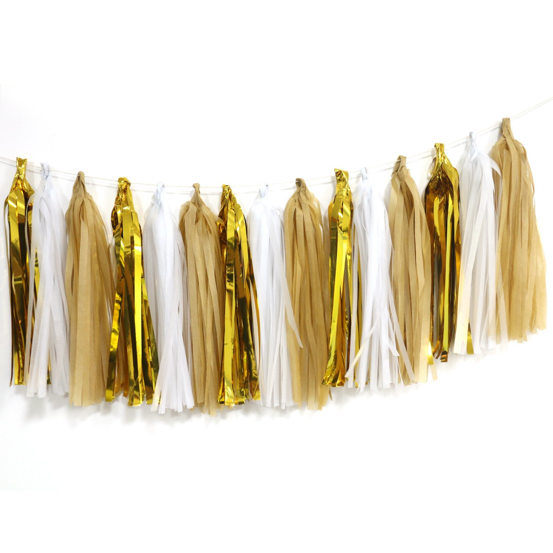 Gold and White Tassel Garland Maroon Paper DIY Pre Assembled Tassel Garland Banner Set of 15